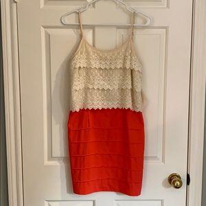 Coral & lace dress